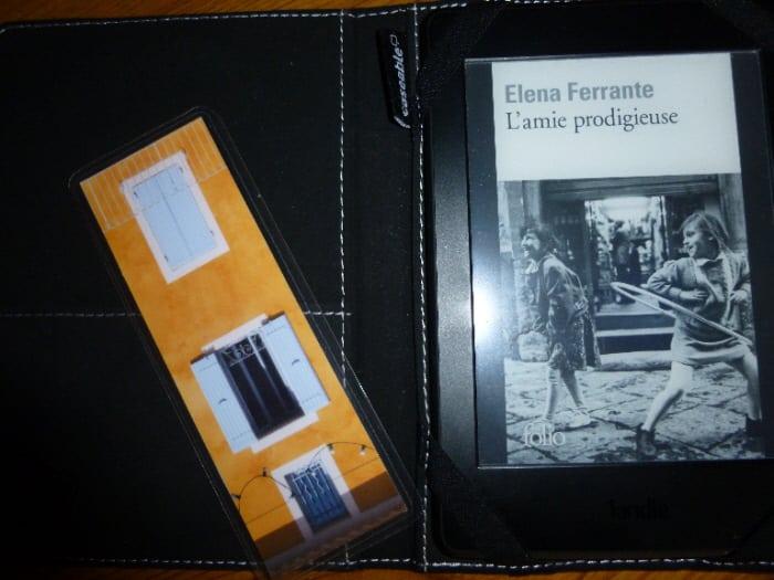 Couverture du premier tome de l'Amie prodigieuse sur liseuse