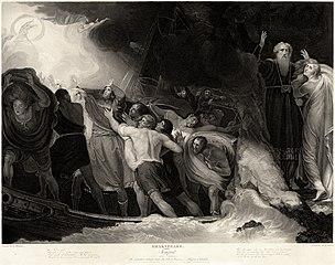 Gravure représentant la première scène de La tempête