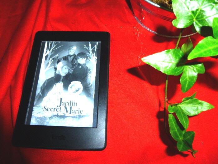 Liseuse sur nappe rouge avec feuilles de lierre. En lecture sur la liseuse, Le jardin secret de Marie