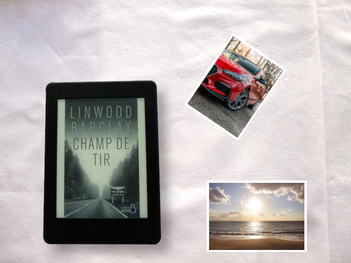 Photo de voiture rouge, photo de plage et liseuse avec le livre de Linwood Barclay, Champ de tir