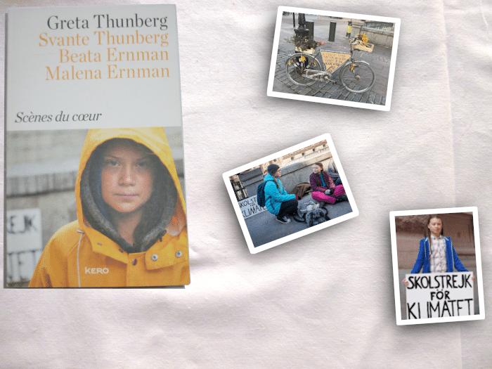 Livre de Greta Thunberg, Scènes du coeur,  et deux photos de la jeune fille, une photo de sont vélo.