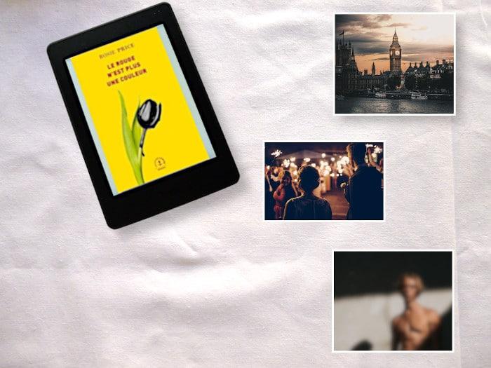 Liseuse avec le livre de Rosie Price, Le rouge n'est plus une couleur. Photos de: Londres, une fête, un homme flou