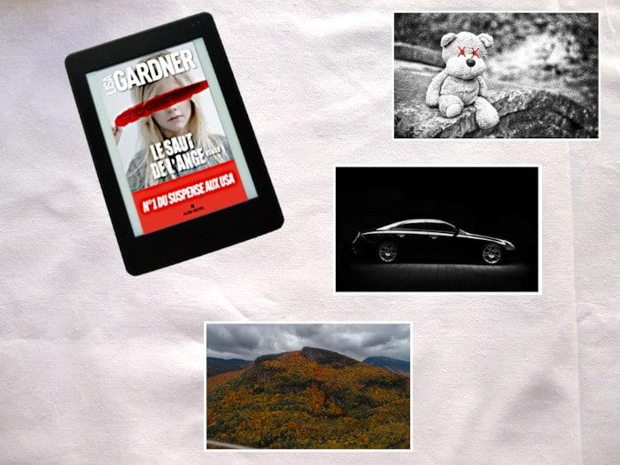 Liseuse avec la couverture du livre de Tessa Léoni ; Photos d'un ours en peluche avec des X sur les yeux, d'une voiture et d'un paysage