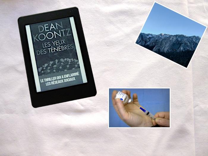 Liseuse (Les yeux des ténèbres - Dean Koontz), une photo de falaises, une photo de seringue