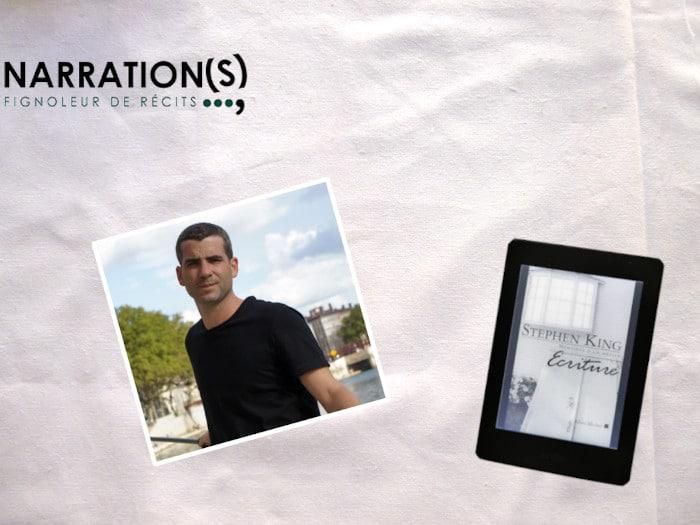 Photo de Raphaël Bischoff, son logo et une liseuse avec le livre de Stephen King sur l'écriture