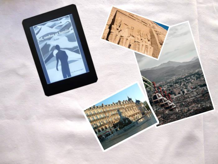 Liseuse avec la couverture du livre de Guy Boisberranger, Jef, ombre et lumière. Trois photos : Egypte, Grenoble, Montpellier