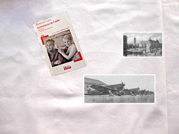 Livre de Romain Gary, La promesse de l'aube avec deux photos: avions et la ville de Vilnius