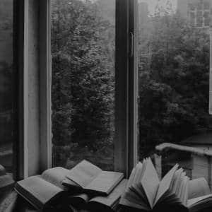 Livres ouverts devant une fenêtre