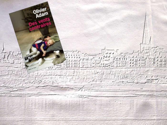 En arrière plan, Saint-Malo et au premier plan, la couverture du livre d'Olivier Adam, Des vents contraires