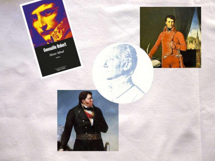 Couverture du livre de Gwenaële Robert, Never Mind, Portrait de Bonaparte en Premier consul, Médaillon de Joseph de Limolëan, portrait de Cadoudal.