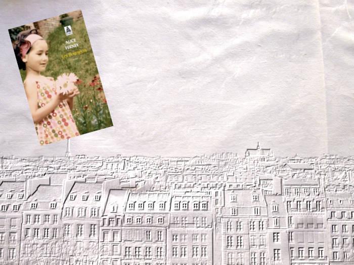 Paris en arrière plan. au premier plan, la couverture du livre d'Alice Ferney, Les Bourgeois
