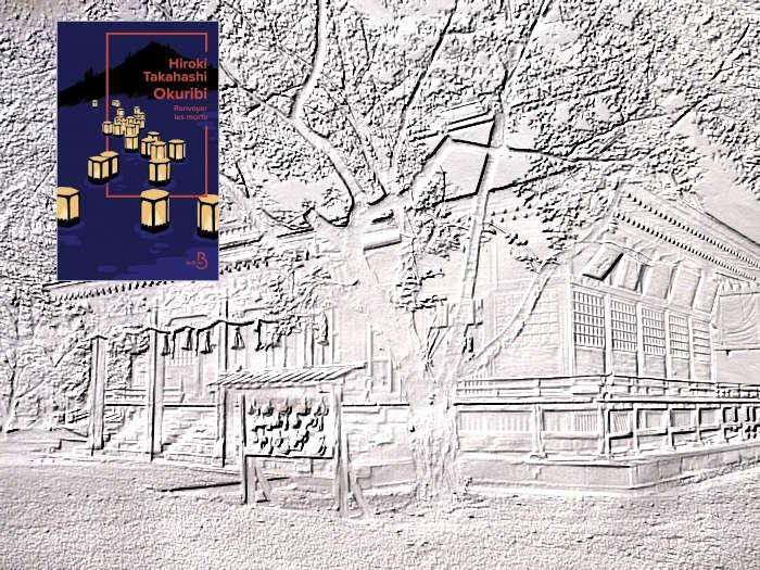 En arrière plan le temple Saruga (Hirakawa) et au premier plan, la couverture du livre de Hiroki Takahashi, Okuribi Renvoyer les morts