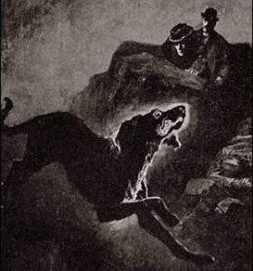 Sherlock Holmes et le Dr Watson, derrière des rochers voient le chien démoniaque qui menace la famille Baskerville.i