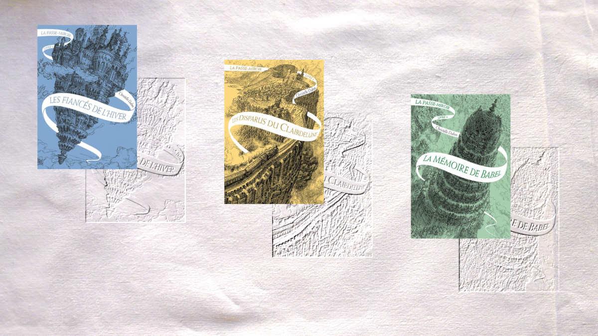 Les couvertures des trois premiers tomes de la série de Christelle Dabos, La passe-miroir.