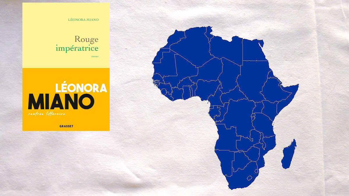 La couverture du livre de Léonora Miano, Rouge impératrice et une carte d'Afrique, en bleu.