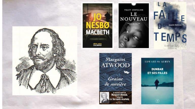 Cinq couvertures de livres qui font partie du Projet Hogarth, portrait de Shakespeare