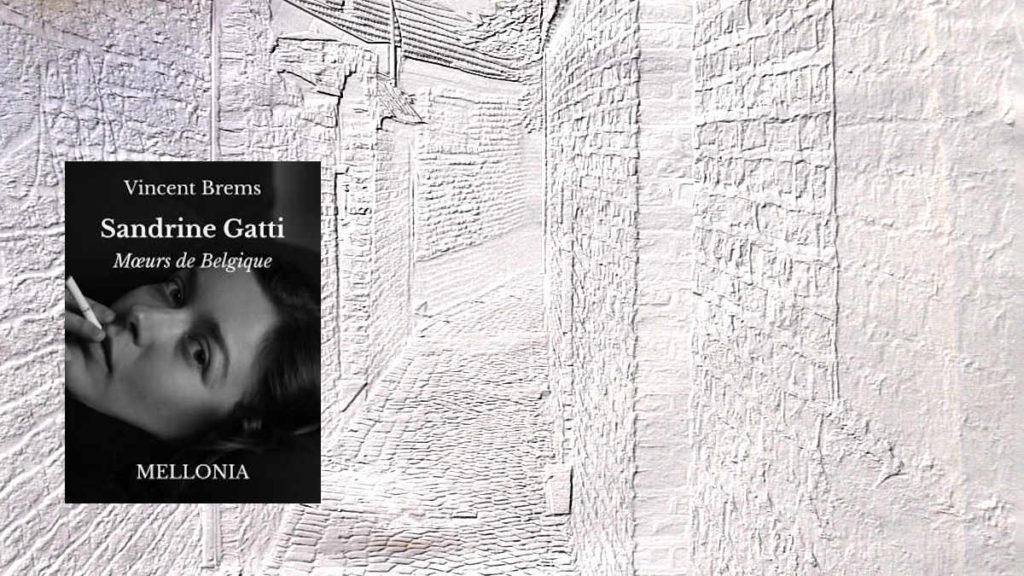 A l'arrière plan, une rue de Liège, au premier plan, la couverture du livre de Vincent Brems, Sandrine Gatti