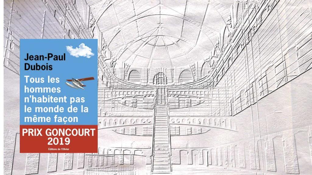 A l'arrière-plan, l'intérieur d'une prison, au premier plan, la couverture du livre de Jean-Dubois, Tous les hommes n'habitent pas le monde de la même façon.