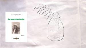 En arrière-plan, de l'herbe dans un vase, au premier plan, la couverture du livre de Yves Montmartin, La mauvaise herbe.