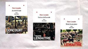 Les trois couvertures de la trilogie Pierre Lemaitre, Au-revoir là-haut, Couleurs de l'incendie, Miroir de nos peines