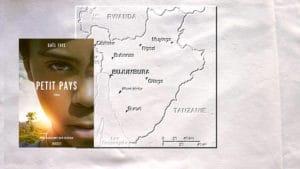 Carte du Burundi et couverture du livre de Gaël Faye, Petit pays