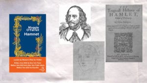 Couverture du livre de Maggie O'Farrell, Hamnet, Portaits de Shakespeare et de son épouse, couverture de la pièce de théâtre Hamnet