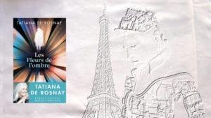 En arrière-plan la tour Eiffel et un robot, au premier plan la couverture du livre de Tatiana de Rosnay, Les fleurs de l'ombre
