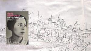 A l'arrière-plan, des militaires sur des tanks ; au premier plan la couverture du livre d'Irène Némirovsky, Suite française