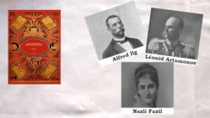 Couverture du livre d'Alexandre page, Abyssinia, Photos de trois personnes qui apparaissent dans le livre, Alfred Ilg, Léonid Artamonov et Nazli Fazil