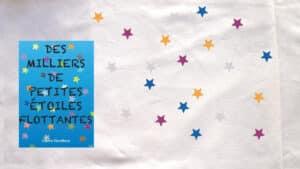 Des étoiles multicolores pour représenter le livre de Claire Devillers, Des milliers de petites étoiles flottantes