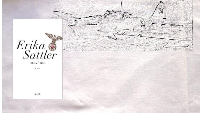 A l'arrière-plan, un avion de combat et au premier plan la couverture du livre de Hervé Bel, Erika Sattler