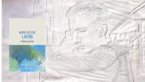 A l'arrière-plan, un jeune homme qui réfléchit, au premier plan, la couverture du livre de Marie-Hélène Lafon, Histoire du fils