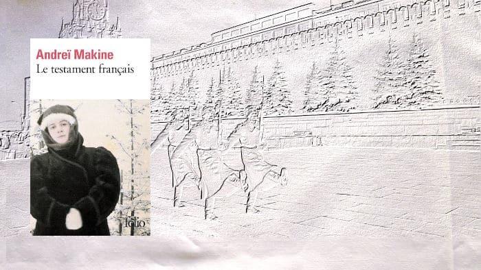 A l'arrière plan, Moscou et au premier plan, la couverture du livre d'Andreï Makine, Le testament français