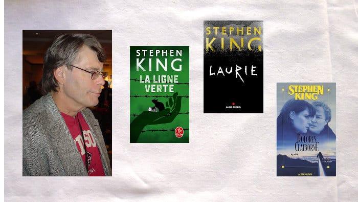 Portrait de Stephen King, trois couverture de livres, Laurie, Dolores Claiborne, La ligne verte