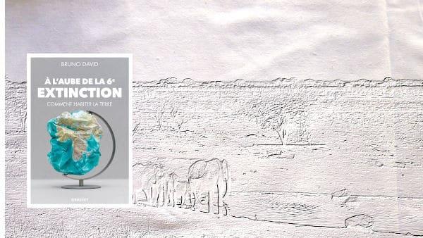 A l'arrière-plan, la savane avec des éléphants au bord de l'eau, au premier plan, la couverture de Bruno David, A l'aube de la sixième extinction.