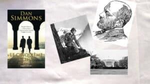 Couverture du livre de Dan Simmons, Le cinquième coeur, dessin de Henry James, dessin de Sherlock Holmes et photo de la Maison Blanche