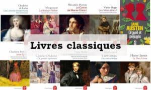 En arrière plan des couvertures de livres classiques, texte : livres classiques