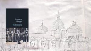 A l'arrière plan, la basilique Sainte-Justine de Padoue, au premier plan, la couverture du livre de Simonetta Greggio, Bellissima