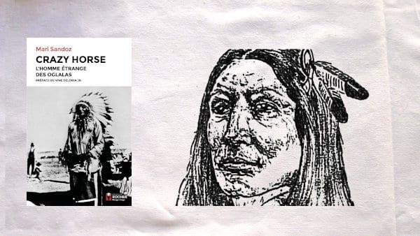 Croquis de Crazy fait par un missionnaire mormon et couverture du livre de Mari Sandoz, Crazy Horse