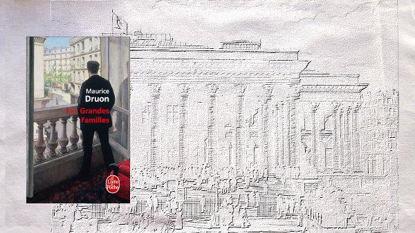 Couverture du livre de Maurice, Druon , Les grandes familles sur un arrière plan.
