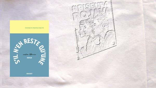 En arrière plan, une affiche représentant 3 combattantes kurdes, au premier plan la couverture du livre de Patrice Franceschi, S'il n'en reste qu'une